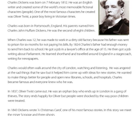 charles dickens biography reading comprehension reading comprehension charles dickens