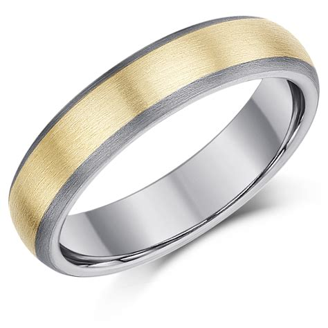 5mm Wedding Ring 5mm titanium gold inlaid wedding ring band titanium
