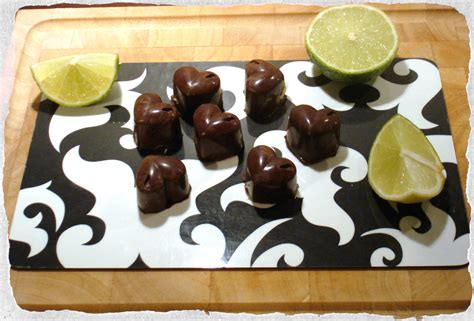 Handmade Chocolates Recipes Filling - chocolates with white chocolate lime filling
