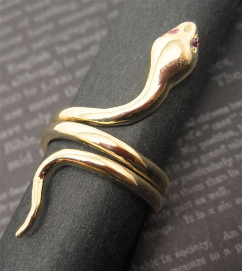 ruby coiled snake 14k solid gold ring