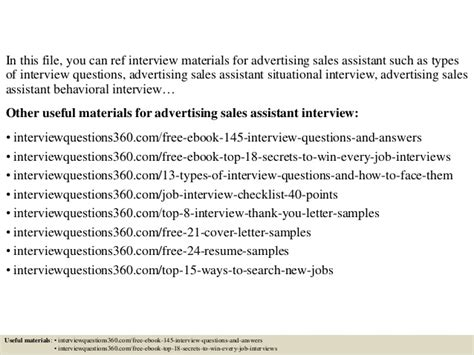 top 10 advertising sales assistant questions and