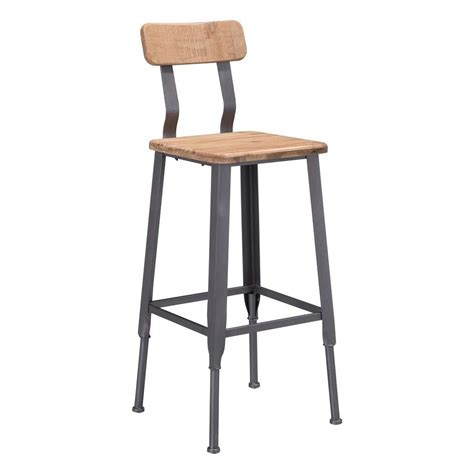 Pine Bar Stool by Zuo Clay 28 5 In Industrial Gray And Pine Bar
