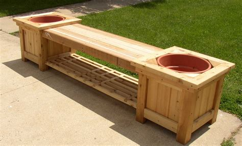 wood planter bench benches with planters simple home decoration