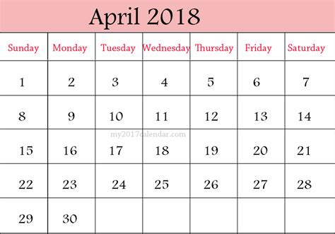 printable calendar 2018 decorative april 2018 calendar calendar printable free