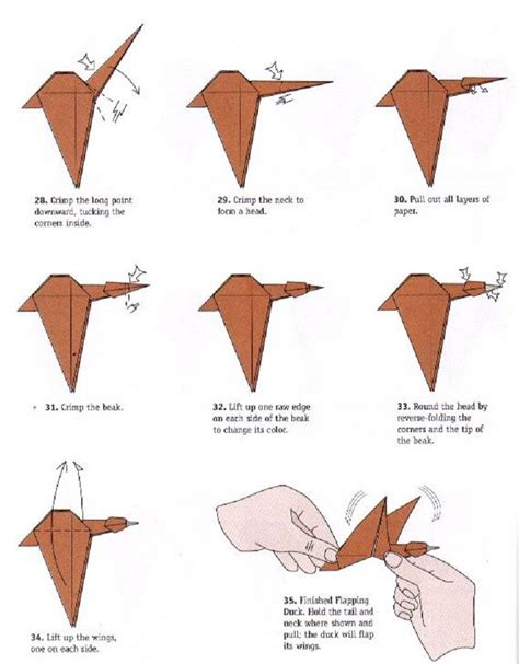 origami moving crane duck flapping wings