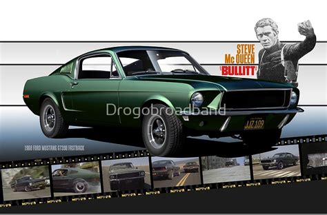 Large Wall Art Stickers quot steve mcqueen bullitt 1968 ford mustang quot posters by