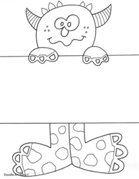 monsters student card template name templates coloring pages classroom doodles