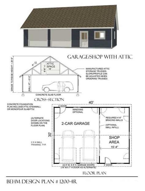 plans to build a garage two car garage with shop and attic truss roof plan 1200 4r