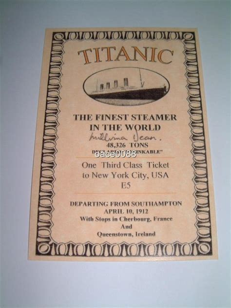 printable titanic tickets titanic white star line millvina dean signed printed 3rd