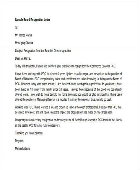 board resignation letters sample format