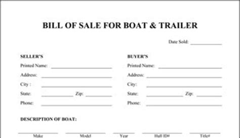 bill of sale template for trailer boat and trailer bill of sale
