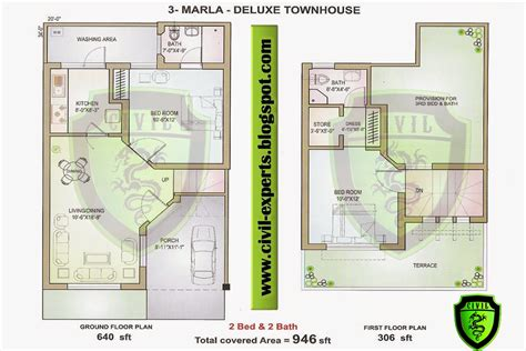 3 Marla House Design Story Civil Experts 3 Marla House
