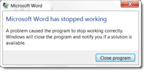 error message coreldraw has stopped working windows 7 tips memperbaiki program microsoft word yang tiba tiba