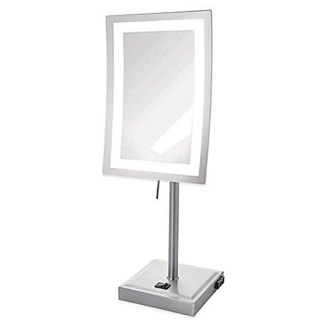 5x lighted makeup mirror buy rectangular 5x led lighted makeup mirror from bed bath