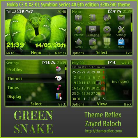 nokia c3 themes with tone green snake theme for nokia c3 x2 01 themereflex