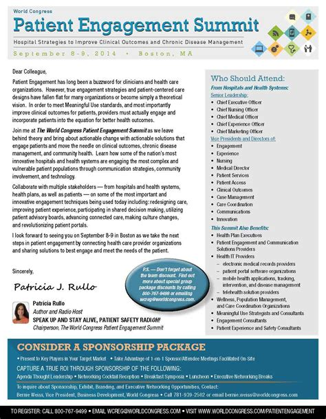 Patient Engagement Letter Join Us At The World Congress Patient Engagement Summit Speak Up And Stay Alive Radio The Book