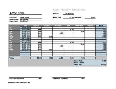 Semi Monthly Time Sheets Semi Monthly Timesheet Horizontal Orientation Work Hours