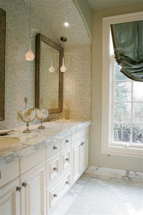 marble penny tile Spaces Transitional with bathroom
