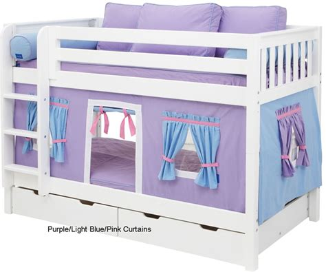 loft bed with curtains maxtrix bunk bed tents for kids purple light blue and