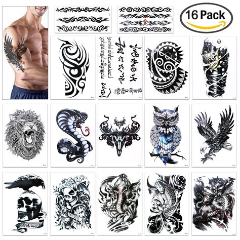 temporary sleeve tattoos for men leoars 2 sheets large temporary