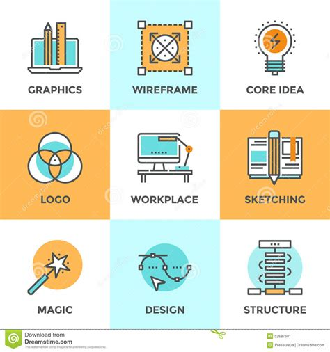 visual communication design skills design development line icons set stock vector