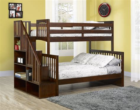 bunk beds twin over full with stairs darren twin over full bunk bed with bookshelf stairs by