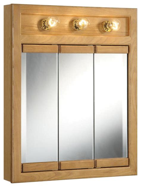 richland 24 quot 3 light tri view medicine cabinet nutmeg oak