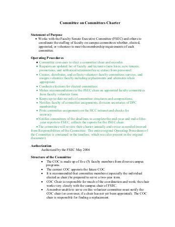 committee charter template bing images