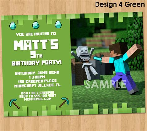 birthday card template minecraft minecraft birthday invitations minecraft birthday