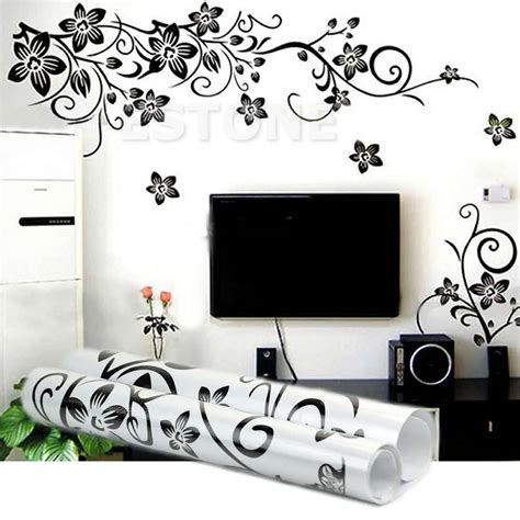 decorative stickers for wall black flowers removable wall stickers wall decals mural home diy decor new ebay