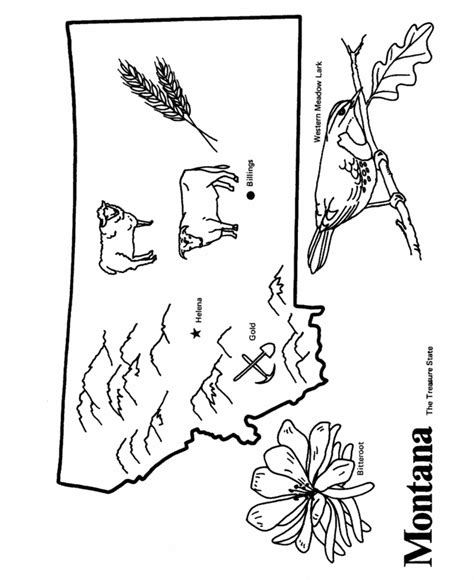 Usa Printables State Outline Shape And Demographic Map Montana Coloring Page