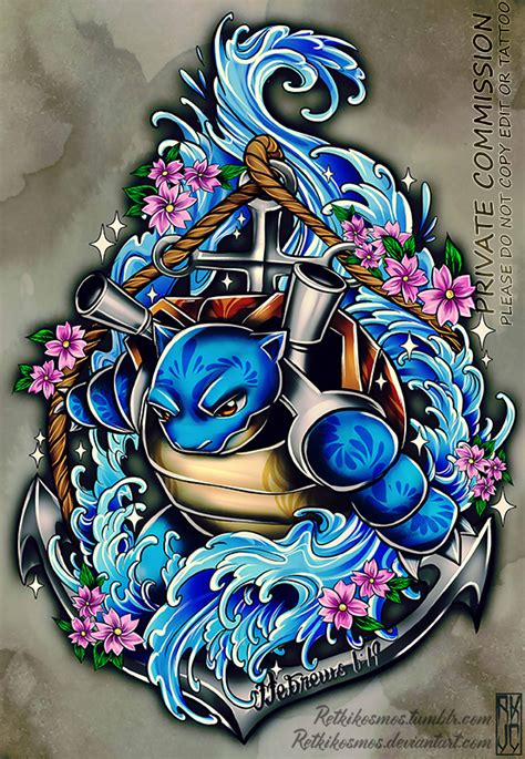 blastoise tattoo blastoise commission 2 by retkikosmos on deviantart
