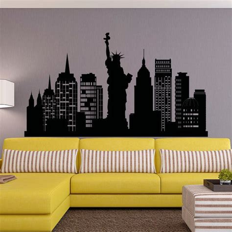 new york city skyline wall decal nyc silhouette new york