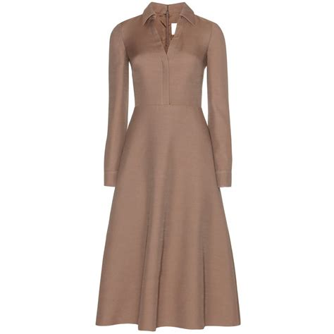valentino wool and silk blend dress in brown lyst