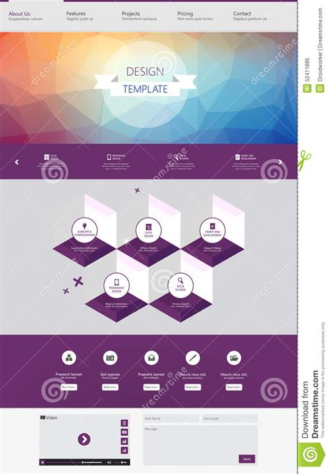 website layout template vector modern creative one page website design template vector