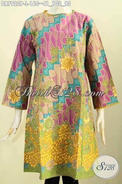 Blus Cantik 152 busana batik dress terkini baju batik terusan desain tanpa krah pakai resleting depan yang