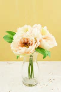 "Peony Silk Bouquet in Peach   10"" Tall"