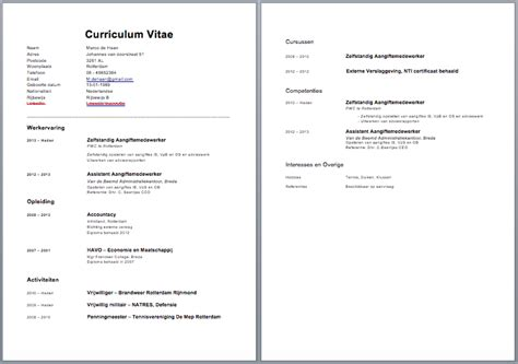 Cv Document Exle by Cv Voorbeeld Curriculum Vitae 5 Gratis Cv Templates