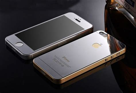 Tempered Glass Mirror Front Back Set Iphone 55s Pink Gold mirror effect tempered glass screen protector for iphone 5 5s 6 6 plus front back silver