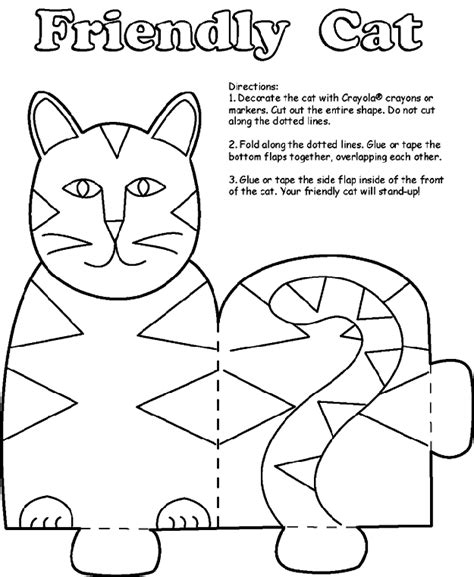 Crayola Coloring Cat Page | friendly cat stand crayola com au