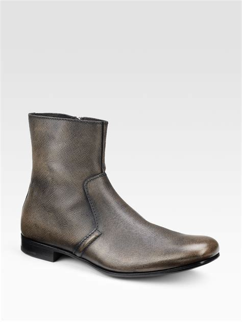 prada mens ankle boots prada ankle boots in brown for black bronze lyst