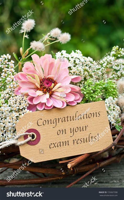 Flowers Card Examcongratulation On Your Exam Stock Photo