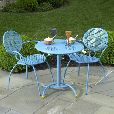 patio furniture blue the margarita bistro set blue hawaiian by alfresco home family leisure