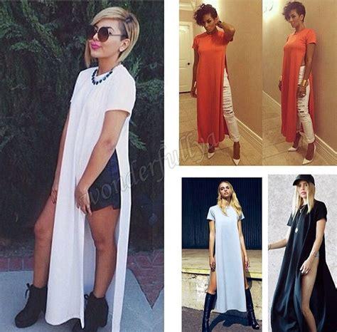 Blouse Kotak Kotak Sale B254 Atasan Panjang Fashion Wanita Simple details about casual side high slits
