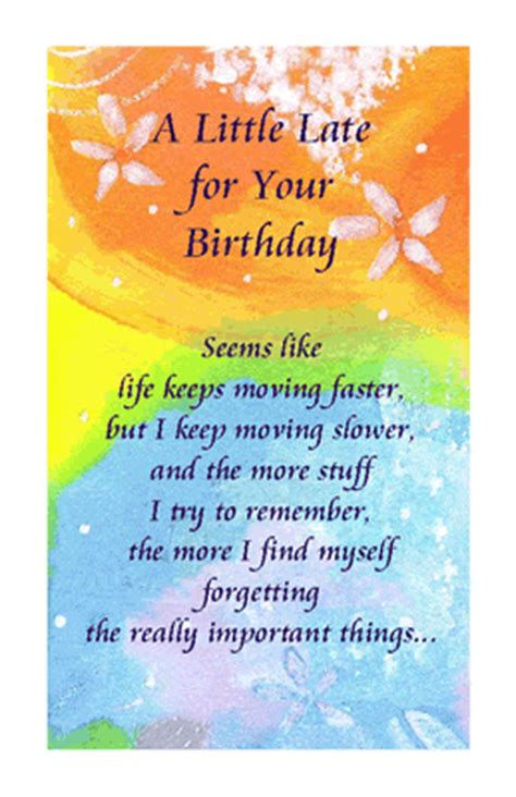 printable birthday cards belated quot a little late quot belated birthday printable card blue