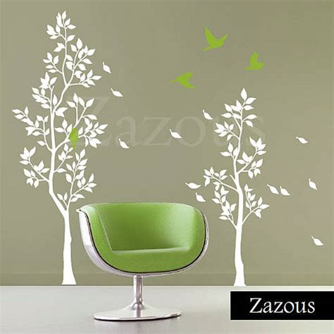 zazous wall stickers white trees with falling leaves wall sticker by zazous notonthehighstreet