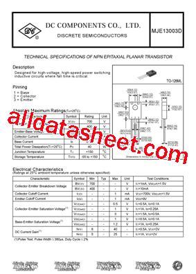 x13003 transistor datasheet mje13003d datasheet pdf dc components
