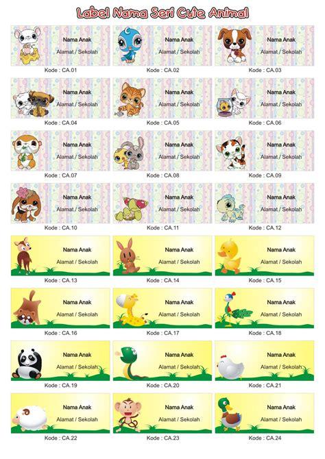 Grosir Label Stiker Nama Anak Seri Hello jual grosir label stiker nama anak seri animal 1 sprint shop
