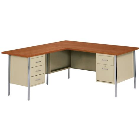 home depot desk ls sandusky 30 in h x 60 in w x 30 in d 500 series l shaped steel desk in putty medium oak pink
