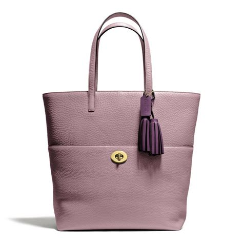 Coach Pabbled Leather Tote lyst coach legacy turnlock tote in pebbled leather in purple